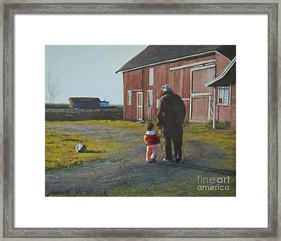 Grandpa And Me Framed Print by Jeanette French