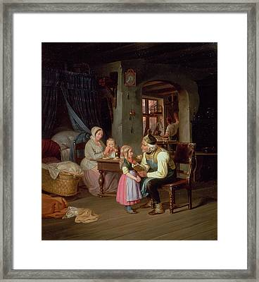 Grandpas Favourite Oil On Canvas Framed Print by Friedrich Edouard Meyerheim