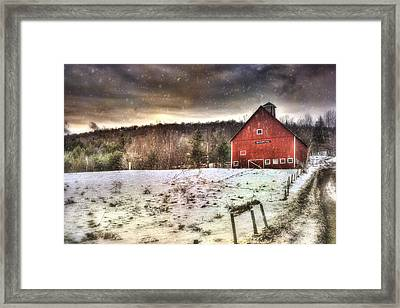 Grand View Farm - Vermont Red Barn Framed Print by Joann Vitali