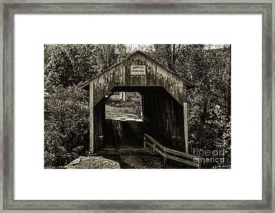 Grange City Covered Bridge - Sepia Framed Print
