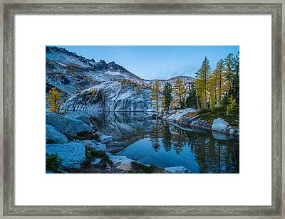 Granite And Fall Larches Framed Print by Mike Reid