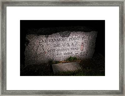 Granite Monument Quoddy Head State Park Framed Print by Marty Saccone