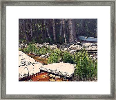 Granite On Beach Framed Print