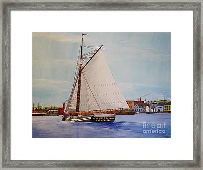 Granite Sloop Albert Baldwin In Boston Harabor 1900 Framed Print by Bill Hubbard