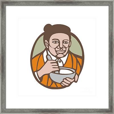 Granny Cook Mixing Bowl Linocut Framed Print