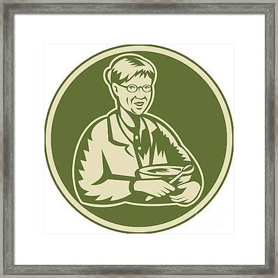 Granny Grandmother Cooking Mixing Bowl Framed Print by Aloysius Patrimonio