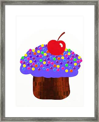 Grape Cupcake Framed Print by Andee Design