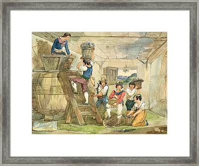 Grape-pickers Carrying Grapes To The Press Pen & Ink And Wc On Paper Framed Print by Achille Pinelli