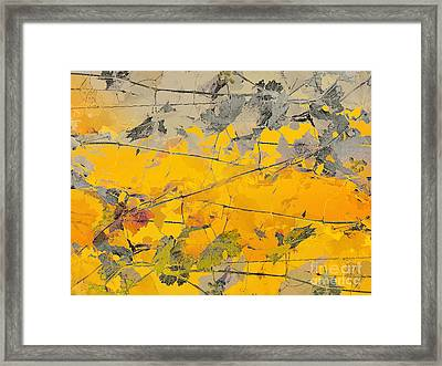 Grape Vines Taupe And Autumn Gold Framed Print by CR Leyland