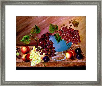Framed Print featuring the painting Grapefully Your's by Fram Cama