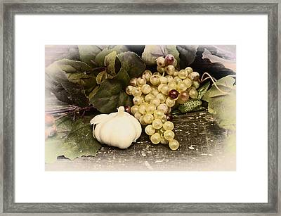 Grapes And Garlic Framed Print by Bill Cannon
