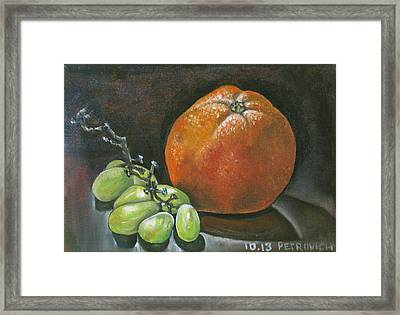 Grapes And Grapefruit Framed Print by Petrovich
