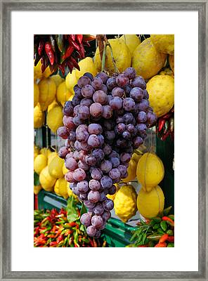 Grapes And Lemons - Fresh Fruit Framed Print