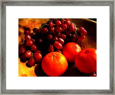 Grapes And Tangerines Framed Print