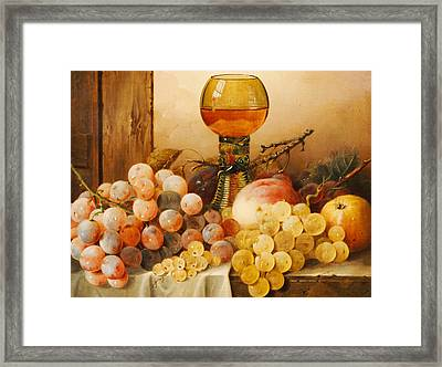 Grapes Apples Plums And A Peach With Hock Glass On Draped Ledge Framed Print