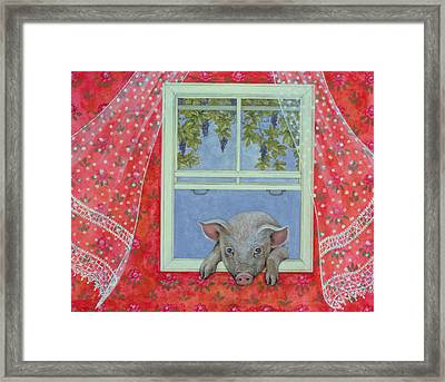 Grapes At The Window Framed Print by Ditz