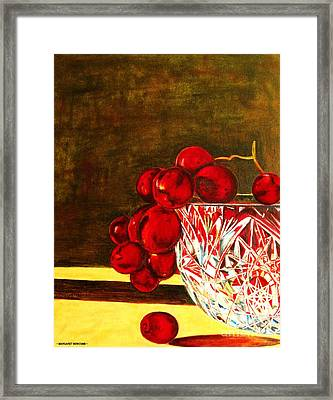 Grapes In A Crystal Bowl Framed Print