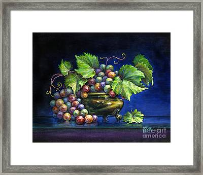 Framed Print featuring the painting Grapes In A Footed Bowl by Jane Bucci
