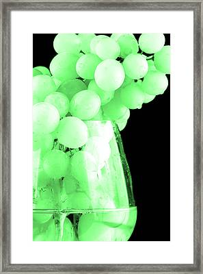 Grapes In Green Tone Framed Print