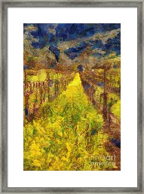 Grapevines And Mustard Framed Print