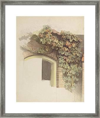Grapevines On A Brick House, 1832 Pencil And Wc On Paper Framed Print