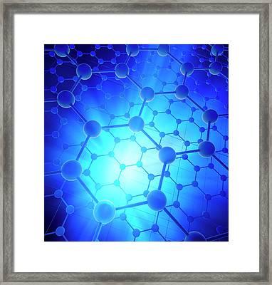Graphene Atomic Structure Framed Print by Andrzej Wojcicki