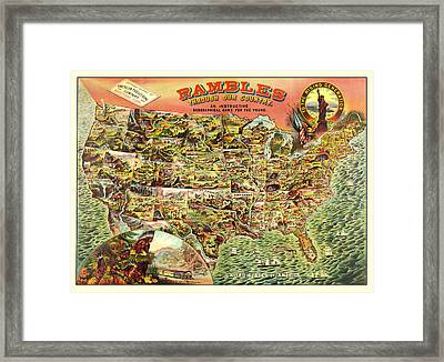 Graphic Illustrated Usa Framed Print by Gary Grayson