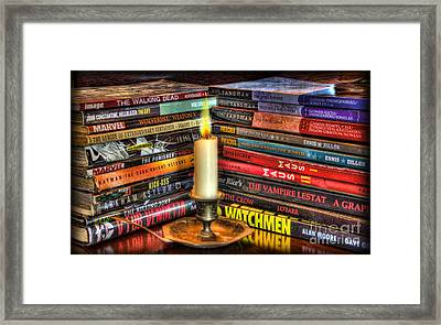 Graphic Novels By Candlelight  Framed Print by Lee Dos Santos