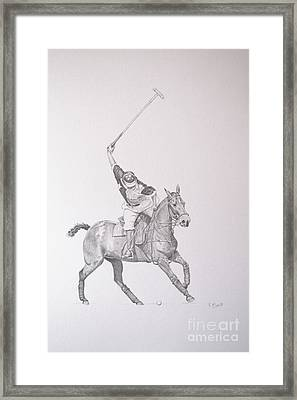 Graphite Drawing - Shooting For The Polo Goal Framed Print