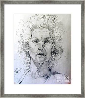 Graphite Portrait Sketch Of A Well Known Cross Eyed Model Framed Print