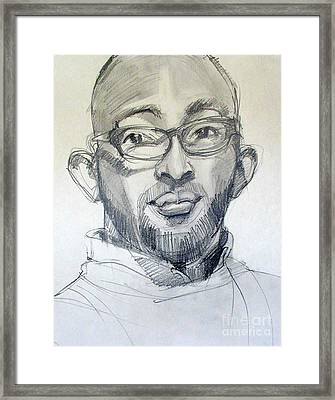 Graphite Portrait Sketch Of A Young Man With Glasses Framed Print by Greta Corens