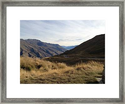 Grass And Mountains Framed Print by Ron Torborg