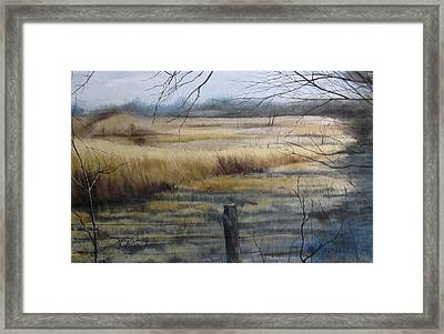 Grass Fields Of Millville Framed Print by Denny Dowdy