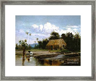 Grass House With Two Figures Framed Print by Pg Reproductions