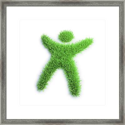 Grass In The Shape Of A Person Framed Print by Andrzej Wojcicki