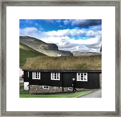 Grass Roof House In Faroe Islands Framed Print