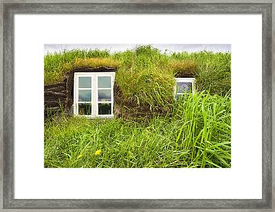 Grass Roof House In Iceland Detail Framed Print