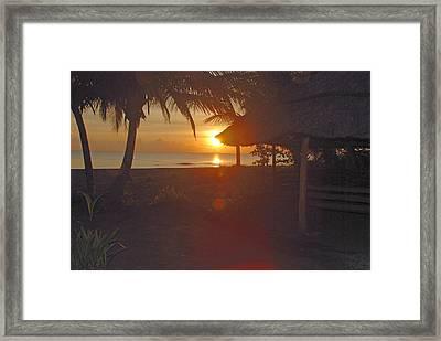 Grass Shack Sunrise Framed Print