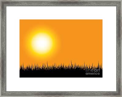Grass Silhouette Orange Framed Print