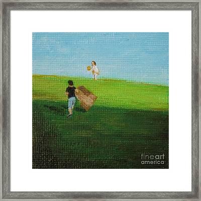 Grass Sledding  Framed Print by Amber Woodrum