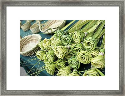 Grass Woven Roses For Sale At Market Framed Print