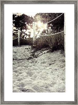 Grassy Beach Post Entrance At Sunset 2 Framed Print
