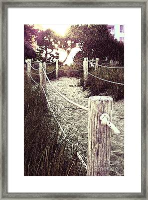 Grassy Beach Post Entrance At Sunset Framed Print
