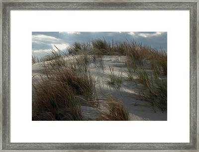 Framed Print featuring the digital art Grassy Dunes by Kelvin Booker