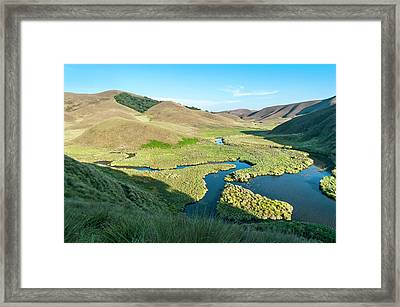 Grassy Hills And Wetlands Framed Print by K Jayaram