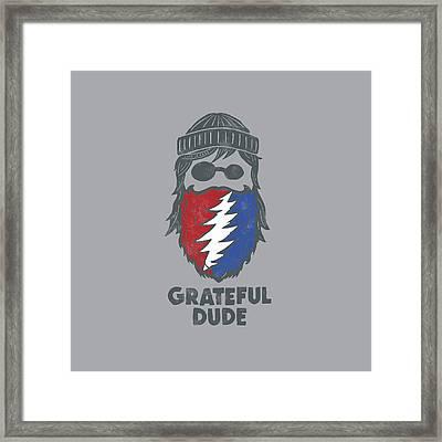 Grateful Beard Framed Print by Life is Good