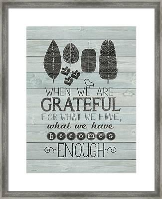 Grateful Framed Print by Jo Moulton