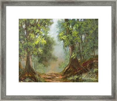 Gratifying Exploring- Sq With Gold Leaf By Vic Mastis Framed Print by Vic  Mastis