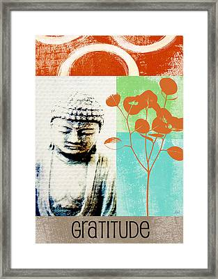 Gratitude Card- Zen Buddha Framed Print by Linda Woods