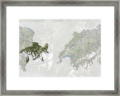 Graubunden, Switzerland, Satellite Image Framed Print